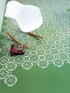How to stencil a floor- this would be neat for a concrete outdoor patio or back porch