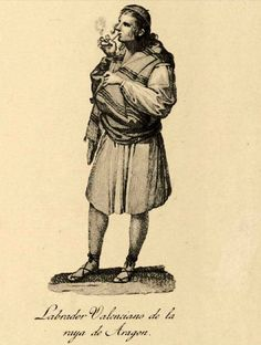 Spanish field worker in his espadrilles (ca 1840) from the Valencia region