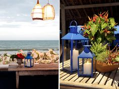 Wedding in Trancoso, Bahia - Brazil.  Wedding decor - Royal Blue in order to integrate the ocean with the sky.
