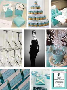 """""""Breakfast at Tiffany's"""" bridal shower    Dress code: Favorite party dress, and lots of jewelry    Creative idea: Request that guests wrap their gift in tiffany blue paper and a white ribbon."""