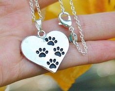 Charm Necklace - .925 Sterling Silver Chain - Four Paw Prints Pendant - Pet Dog Cat Lover Paws Heart Gift
