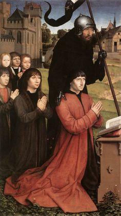 Ганс Мемлинг - Триптих Вильяма Мореля, левое крыло: основатель Вильям Морель со святым покровителем Вильгельмом де Малеваль и пятью сыновьями, 1484