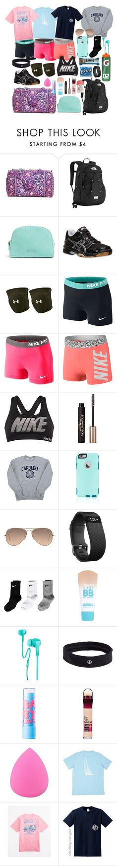 Volleyball Camp Essentials by whalesandprints ❤ liked on Polyvore featuring Vera Bradley, The North Face, Asics, Under Armour, NIKE, LOréal Paris, Champion, OtterBox, Ray-Ban and Fitbit