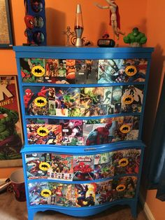 Mason's decoupage super hero dresser!