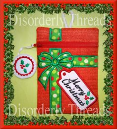 Christmas Present Zippered Bag 5x7 xxx vip  by DisorderlyThreads, $8.00