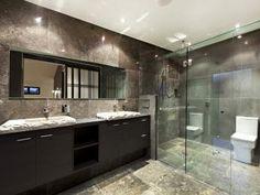 Modern bathroom design with built-in shelving using ceramic - Bathroom Photo…