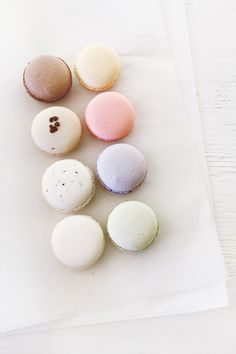 Macarons: passion fruit; raspberry; lavender earl grey; pistachio; vanilla; sesame; mocha; chocolate