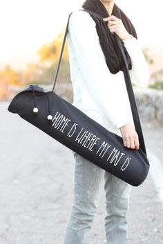 Black Yoga Mat Bag - Home Is Where My Mat Is  - Yoga Mat Carrier - Yoga Sling…