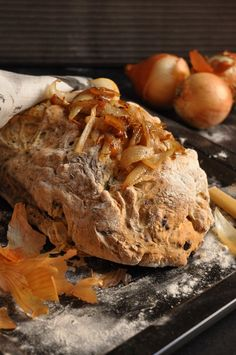 Smoky Onion and Olive Beer Bread - I've done cheese and onion bread over a fire before, but this looks amazing!