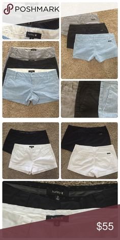 Hurley shorts All 5, smoke free home. Size 3 Hurley shorts. Great condition, like brand new! Worn only a few times. Hurley Shorts