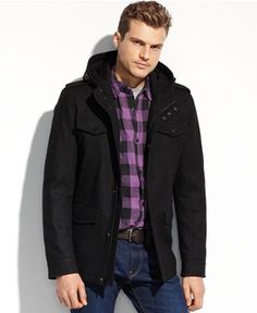 GUESS Coats, Wool Four-Pocket Hooded Coat - Coats & Jackets - Men - Macy's