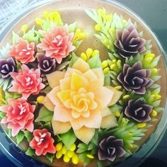 3d Jelly Cake, Jelly Flower, Jello, Fruit Salad, Food Art, Acai Bowl, 3 D, Pudding, Cakes