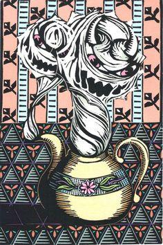 Original Linocut of Teapot by Ken Swanson by KenSwanson on Etsy