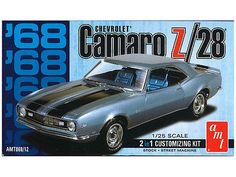 This is the 1/25 Scale 1968 Camaro Z28 Plastic Model Kit from AMT. Suitable for Ages 10 & Older. FEATURES: Highly detailed plastic pieces molded in white and clear Multiple motor intake options Stock