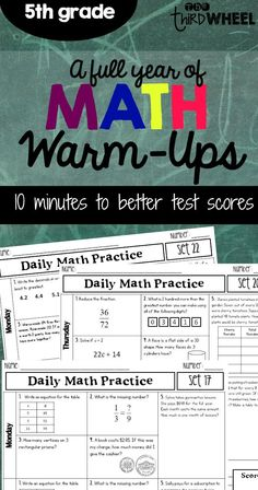 With all the new math standards in 5th grade it is hard to find time to cover it all...let alone review and practice. This daily math spiral is designed to provide regular review of all the important skills your 5th grade students will need to rock the state tests & be ready for 6th grade math. | fractions, word problems, problem solving, multiplication, division, decimals, place value, and more ($)