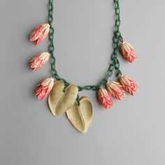 Art Deco Necklace. Floral. Pink Green. Leaves. Blossom. by pinguim, $180.00