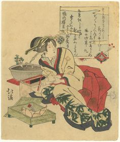 Geisha with a box of bamboo shoots by Hokkei (Japanese Print)