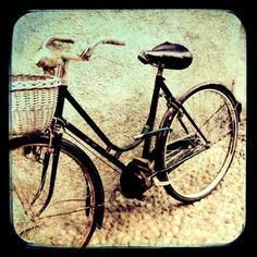 Black Bike, Italy photograph, Travel Photo, cobblestone,  black, cream, vintage, old bike, photo, basket, vintage, tan  -  8x8  via Etsy.