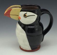 Gillian McMillan. Puffin Jugbird Earthenware, Stoneware, My Images, Mugs, Tableware, Dinnerware, Tumblers, Tablewares, Mug