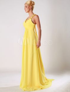 Nobel Daffodil Bandeau V-Neck Chiffon Evening Dress - Milanoo.com