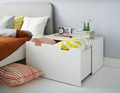 The STUVA bench makes a great bedside table, with a wide surface and storage for seasonal clothes