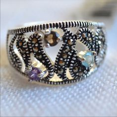 New Silver Plate Colored Cz Crystal Marcasite Ring