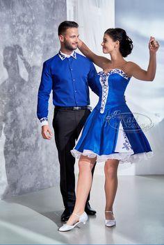 Kati Szalon - Királykék menyecske ruha, hagyományos fazonban, zsinóros, hozzá illő újember inggel Traditional Dresses, Peplum Dress, Formal Dresses, Couple, Women, Weddings, Fashion, Couples, Glamour