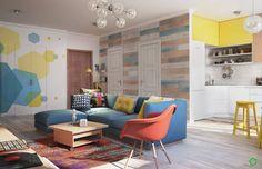 Un appartement moderne de 75 m2 avec une myriade de couleurs (de Rédaction Maison)