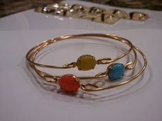 SALE - TRIO SET-vintage stong gold Bracelet - Stacked Bangles - Simple Chic Super Cute - Bridesmaid-Wedding Gift