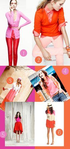 Color blocking pink and orange