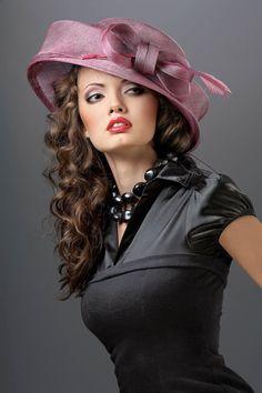 A portrait of a vintage lady wearing black dress and colored hat , Wearing A Hat, Wearing Black, Stylish Hats, Kentucky Derby Hats, Fancy Hats, Church Hats, Fascinator Hats, Fascinators, Headpieces