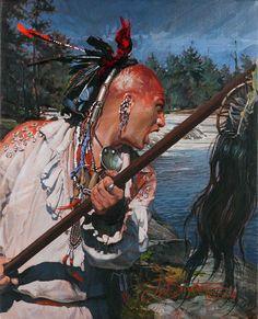 """John Buxton painting - Canoe in Sight 10"""" x 8"""" oil"""
