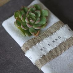Mr and Mrs Ribbon Frayed Edges Napkin Decoration