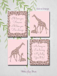 "Printable Baby Nursery Decor Girl Nursery Wall, Mommy and baby giraffe nursery decor. ""I'll love you forever"" poem"