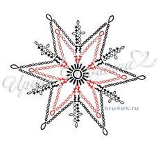 Βελονάκι νιφάδες χιονιού.  Λειτουργεί Ιρίνα Igoshin πλέξιμο και βελονάκι συστήματος Crochet Snowflake Pattern, Crochet Stars, Crochet Snowflakes, Doily Patterns, Afghan Crochet Patterns, Crochet Motif, Crochet Doilies, Crochet Flowers, Crochet Christmas Ornaments