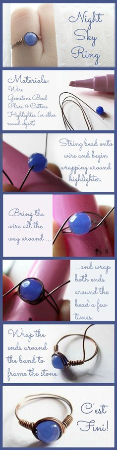 Wire Rings Tutorial: How To Make Wire Wrapped Bead Rings - Jewelry - Ideas of Jewelry - This easy-to-make ring is gorgeous and so romantic! Kasia uses copper wire and a beautiful faceted agate in a shade of blue that is both deep and misty. Wire Wraping, Wire Wrapped Rings, Homemade Jewelry, Bijoux Diy, Beads And Wire, Jewelry Crafts, Jewelry Ideas, Jewelry Art, Jewelry Accessories