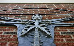 """""""Art and Science"""" cast aluminum relief work by Josh Smith '07 outside Nelson Science Center, Bethany College. Photo by Stephanie McDowell"""