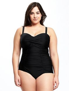 22f9a3d1e58 Smooth   Slim Twist-Front Plus-Size One Piece Swimsuit Plus Size One Piece