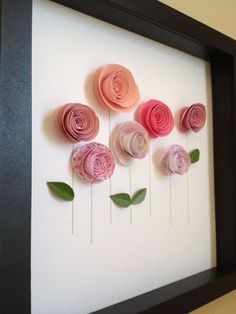 Pink Rose Garden, 3D Paper Art, Customize with your colors and personalize. $35.00, via Etsy. #artsandcraftswithpaper,