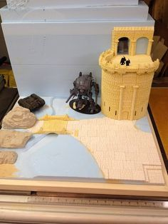 Display Board Fieldstone Tower - Ultrawarrior (Hirst Arts Fantasy Architecture  *Some really good ideas in this build