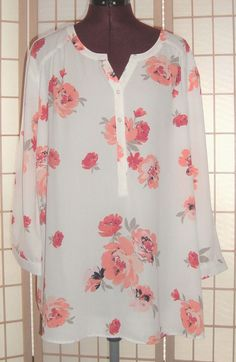 VanHeusen Sz 2XL White & Peach Red Poppy Flowers Chiffon Tunic Top #VanHeusen #Tunic #Everyday