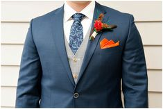 blue and orange groom attire. great look for a fall wedding
