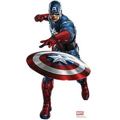 This Captain America Standup features Captain America throwing his shield. Our cardboard Captain America Standee measures 68 inches high x 37 inches wide.