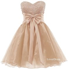 Sweetheart Champagne Homecoming Dresses, Sweet 16 Dress, Organza Short Cute Homecoming Dresses / Party Dresses / Prom Dresses