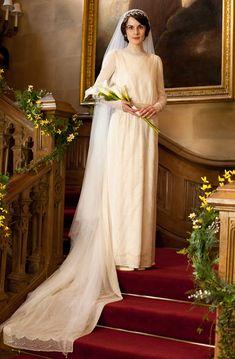 Lady Mary on her wedding day to Matthew Crawley