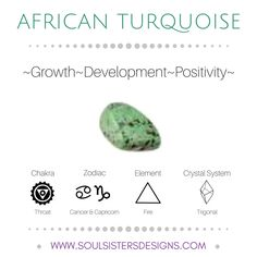 Metaphysical Healing Properties of African Turquoise, including associated Chakra, Zodiac and Element, along with Crystal System/Lattice to assist you in setting up a Crystal Grid. Go to https://www.soulsistersdesigns.com/african-turquoise to learn more!