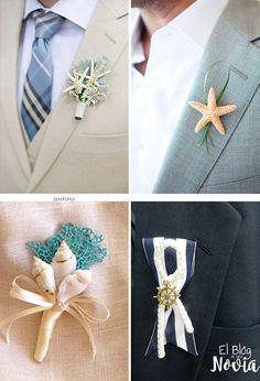 Boutonniere para el novio:  conchas, estrellas de mar y tema náutico