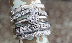 Ah! I adore stackable diamond rings... whether it's an engagement ring or a wedding band. So pretty! Stack Rings | Bowen Jewelry Company | Michelline Hall | as seen on Hill City Bride