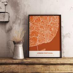 Premium Map Poster of Lisbon Portugal - Simple Burnt - Unframed - Lisbon Map Art