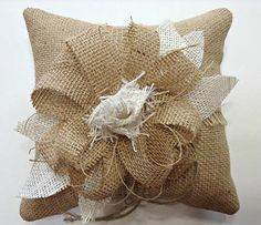 Burlap Ring Bearer Pillow Cream Natural Burlap by sherisewsweet, $24.99